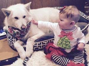 The most very best Christmas present ever...Lula with her big sister Maile.